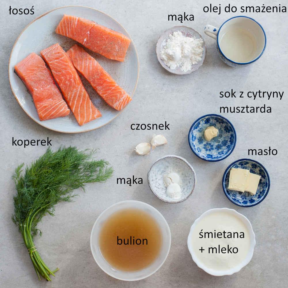 Składniki potrzebne do przygotowania łososia w sosie koperkowym.