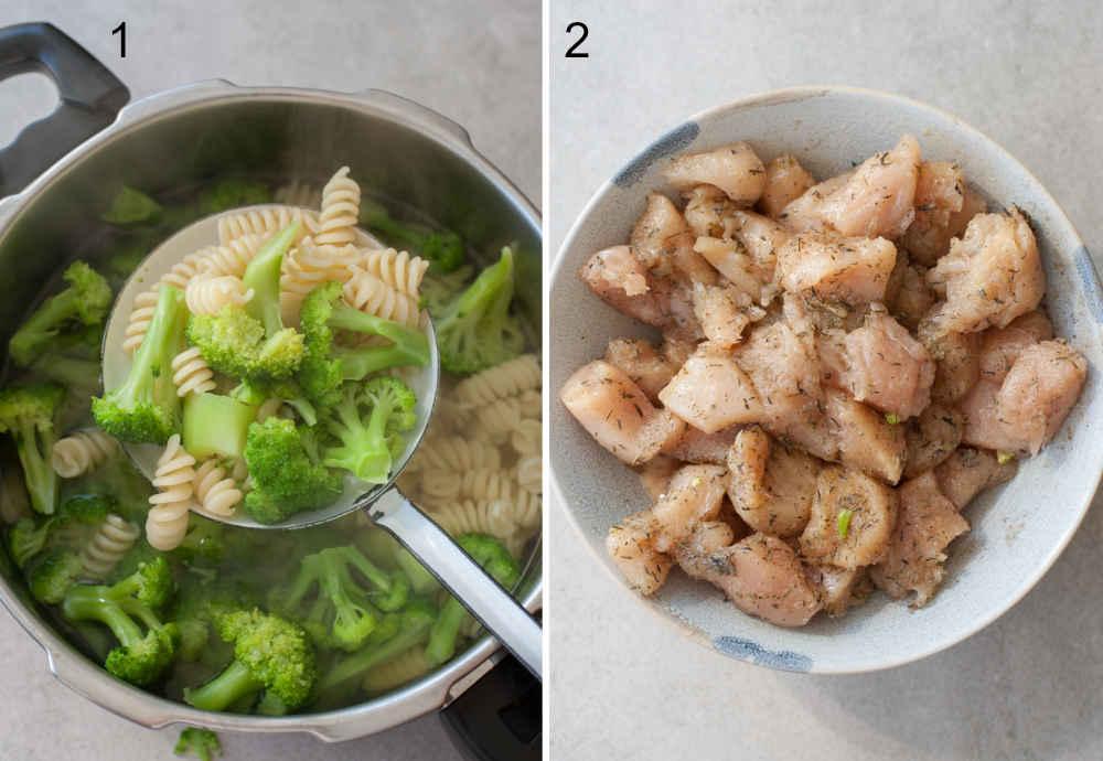 Brokuły i makaron wyciągane na łyżce cedzakowej z garnka. Kurczak pokrojony w kostkę w przyprawach w misce.