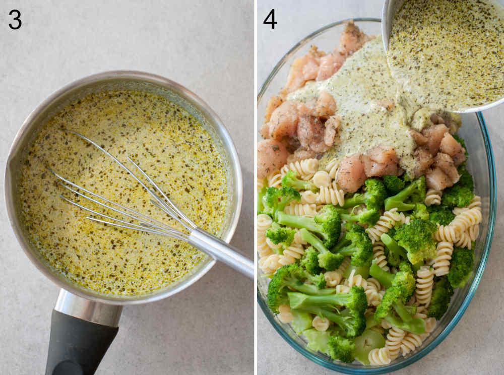 Sos z pesto w garnku. Sos z pesto jest dodawany do pozostałych składników zapiekanki w naczyniu do zapiekania.
