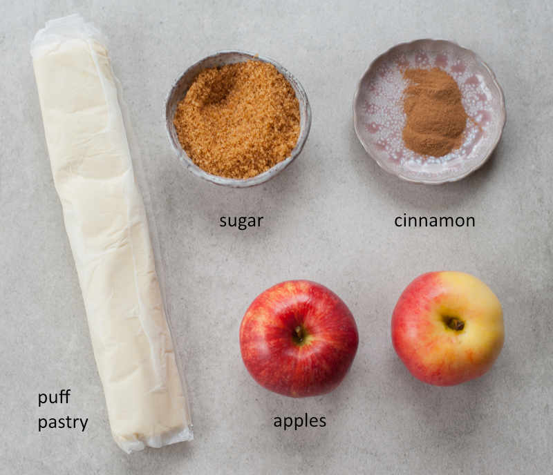 Ingredients for mummy apple hand pies.