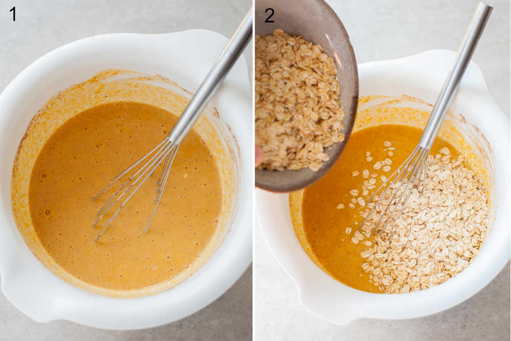 Wet ingredients for pumpkin oatmeal in a white bowl. Oats are being added to the bowl.