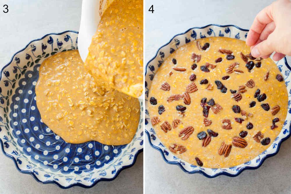 Masa na owsiankę jest wlewana do naczynia do zapiekanka. Owsianka jest posypywana żurawiną i orzechami pekan.