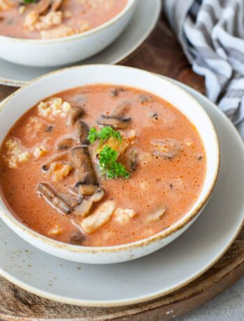 Chicken tomato soup with mushroom served with pasta and parsley in a white bowl.