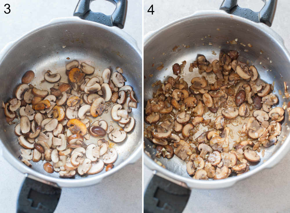 Browned mushrooms in a pot. Mushrooms with onions and garlic in a pot.