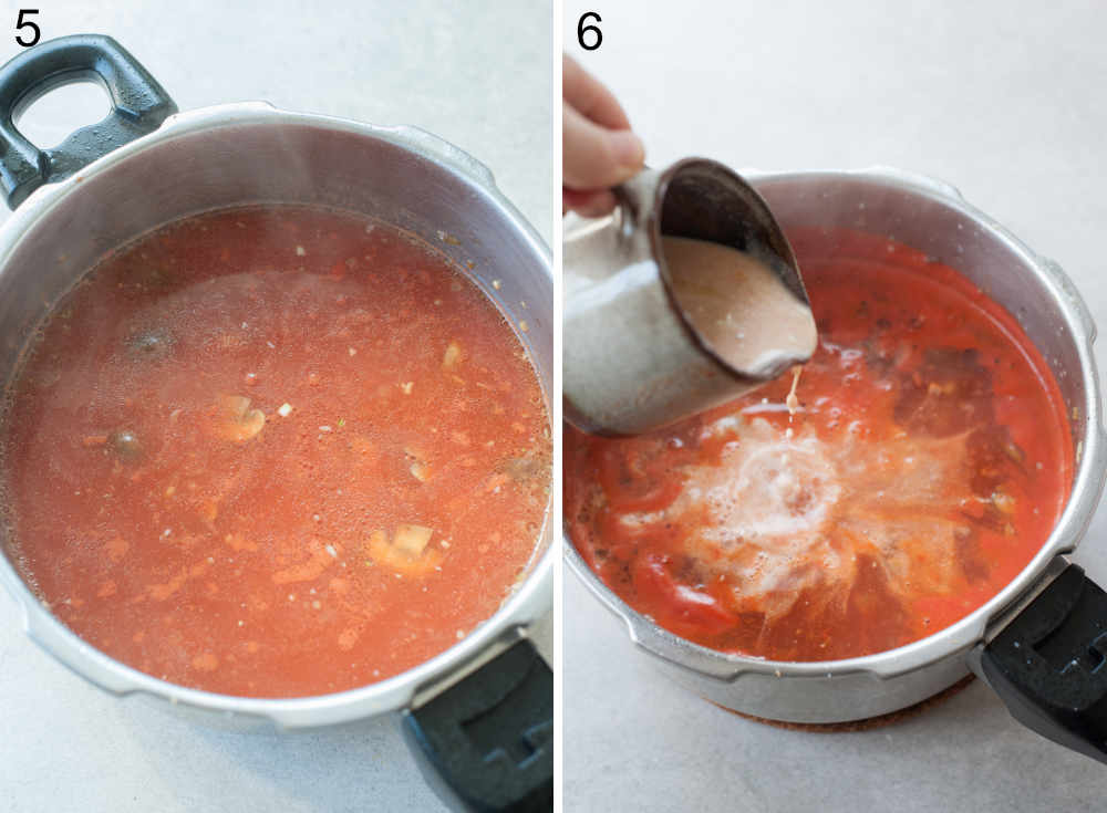 Chicken tomato soup in a pot. Cream is being added to the soup.