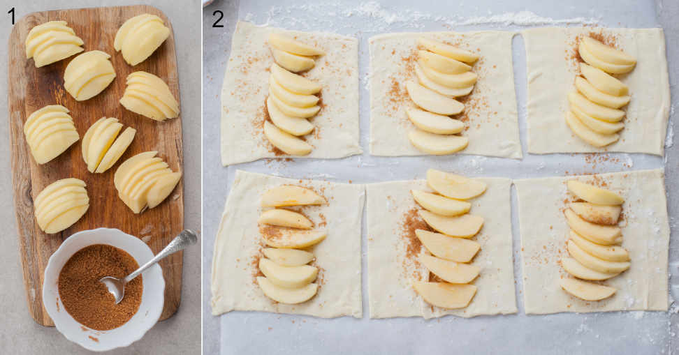 Sliced apples on a chopping board. Cinnamon sugar in a bowl. Squares of puff pastry with cinnamon sugar and apples on top.