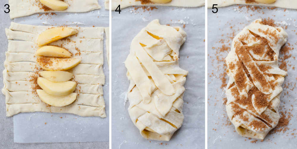 A collage of 3 photos showing preparation steps of mummy pastries.