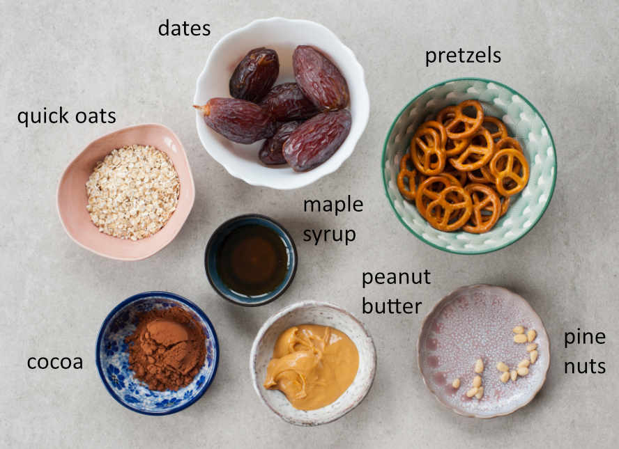 Ingredients needed to prepare pretzel spiders.
