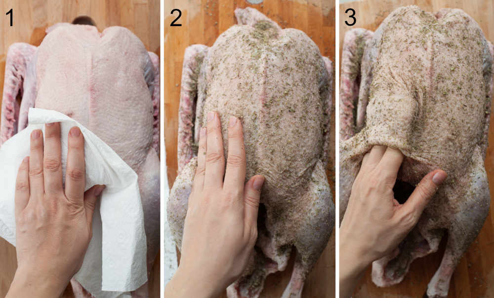 A collage of 3 photos showing how to prepare the goose and rub it with spices.