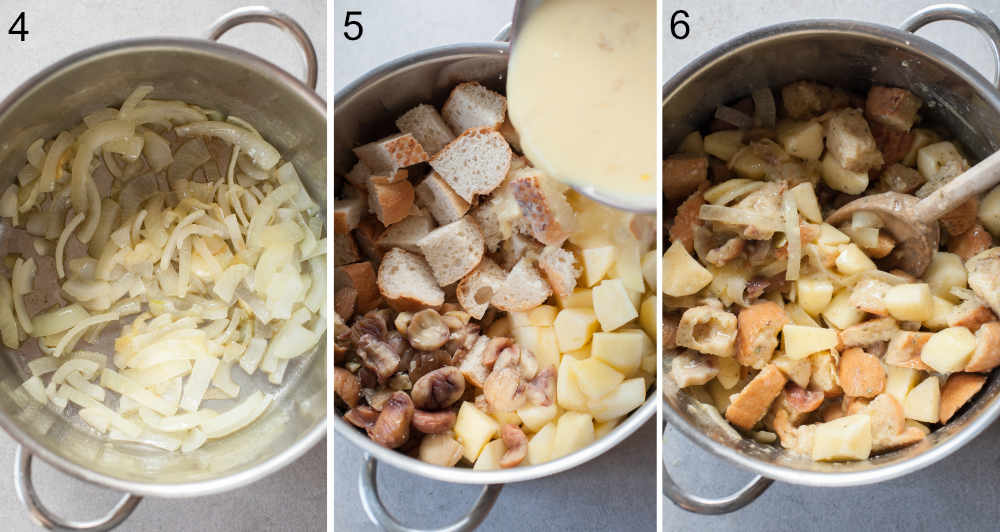 A collage of 3 photos showing stuffing preparation steps.