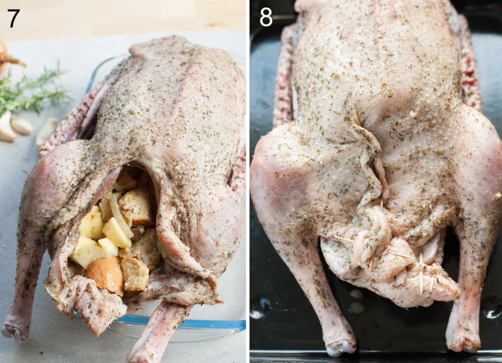 Goose stuffed with stuffing. Goose's cavity closed with toothpicks.