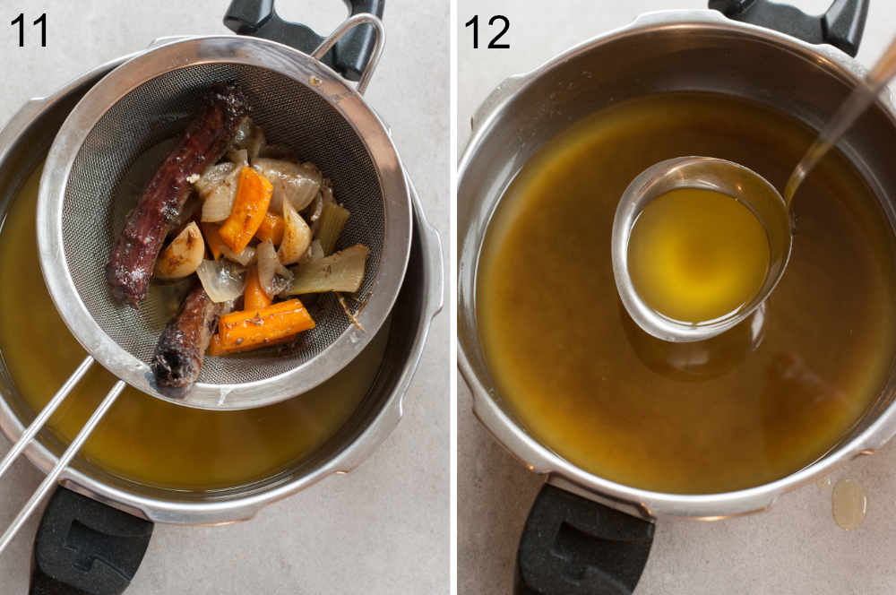 Vegetables and goose neck on a sieve. Goose fat in a pot.