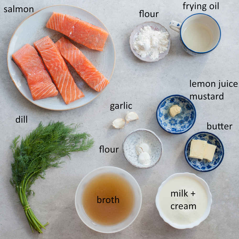 Ingredients needed to prepare salmon with creamy dill sauce.