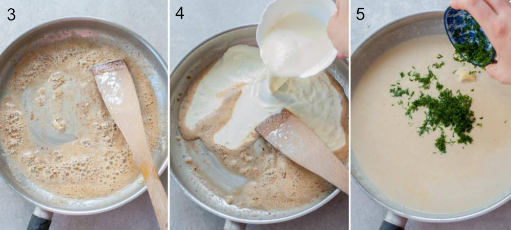 Kolaż 3 zdjęć przedstawiający etapy przygotowania sosu koperkowego.