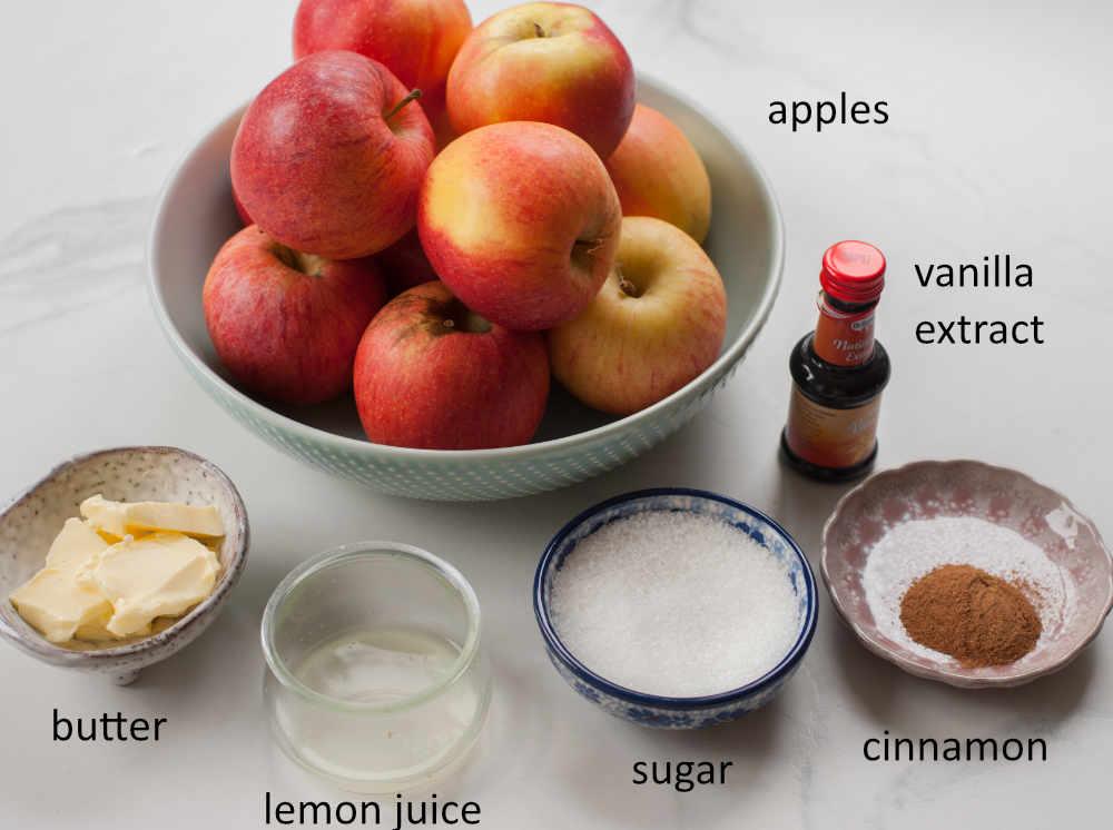 Labeled ingredients needed to prepare Sautéed Cinnamon Apples.