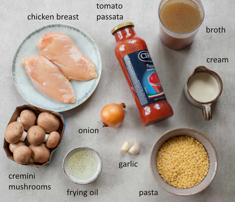 Ingredients needed to prepare chicken tomato soup with mushrooms.