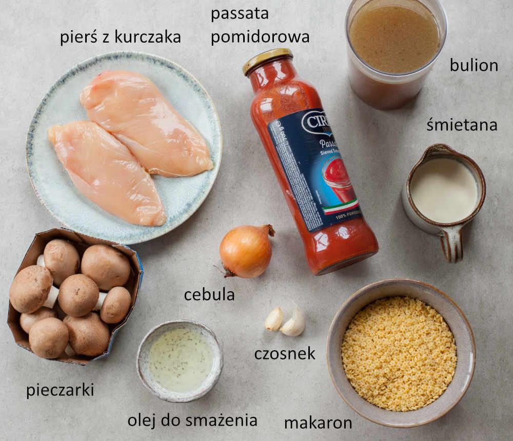 Składniki potrzebne do przygotowania zupy pomidorowej z kurczakiem i pieczarkami.