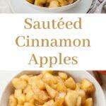 Sauteed cinnamon apples pinnable image.