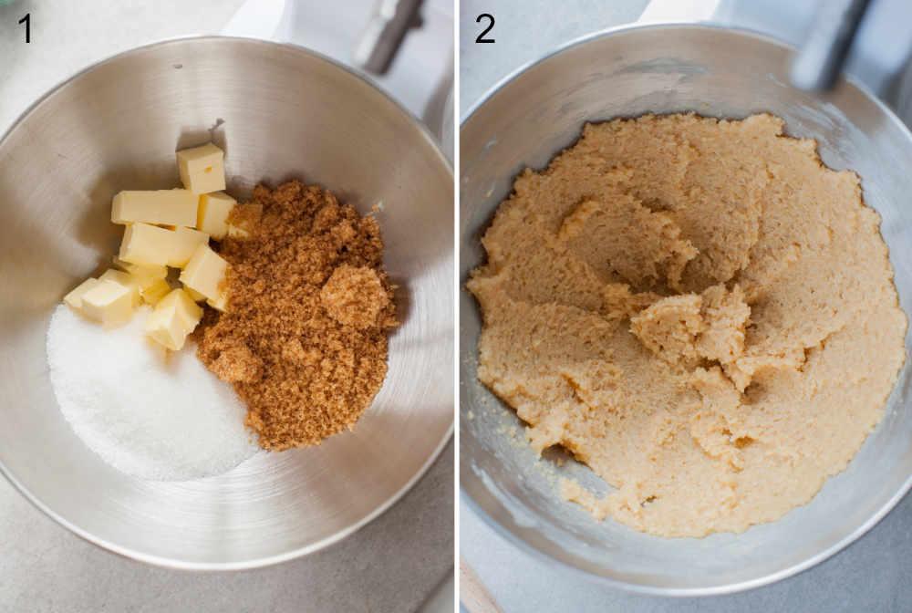 Cukier i masło w misce. Zmiksowany cukier z masłem w misce.