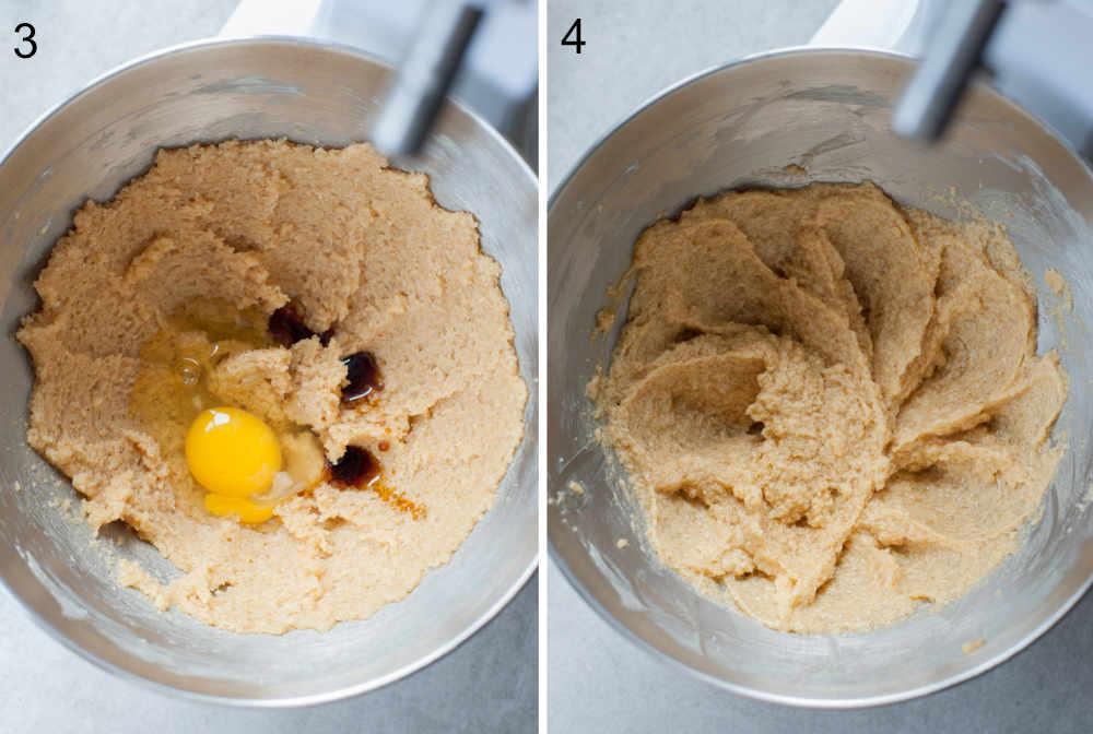 Zmiksowany cukier z masłem w misce, jajko i ekstrakt z wanilli.