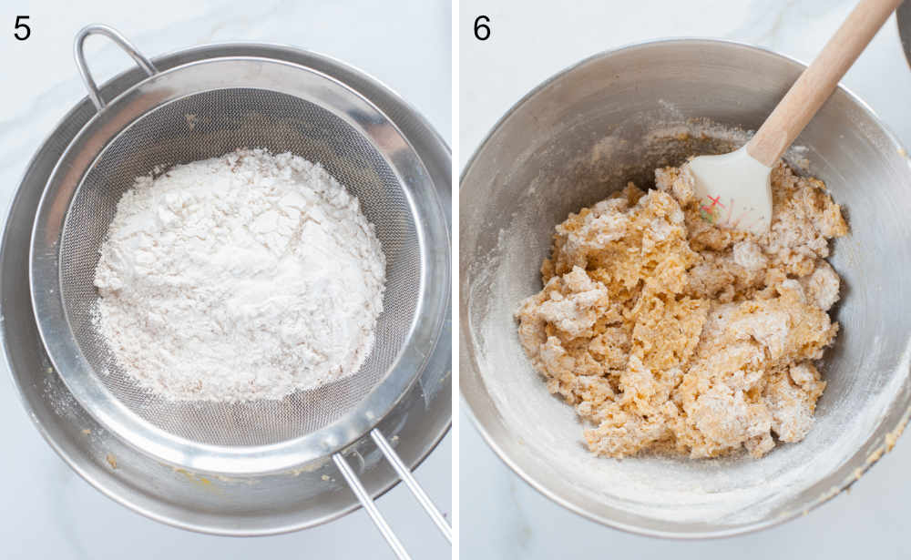 Mąka na sitku. Mąka dodana do masła zmiksowanego z jajkiem i cukrem.