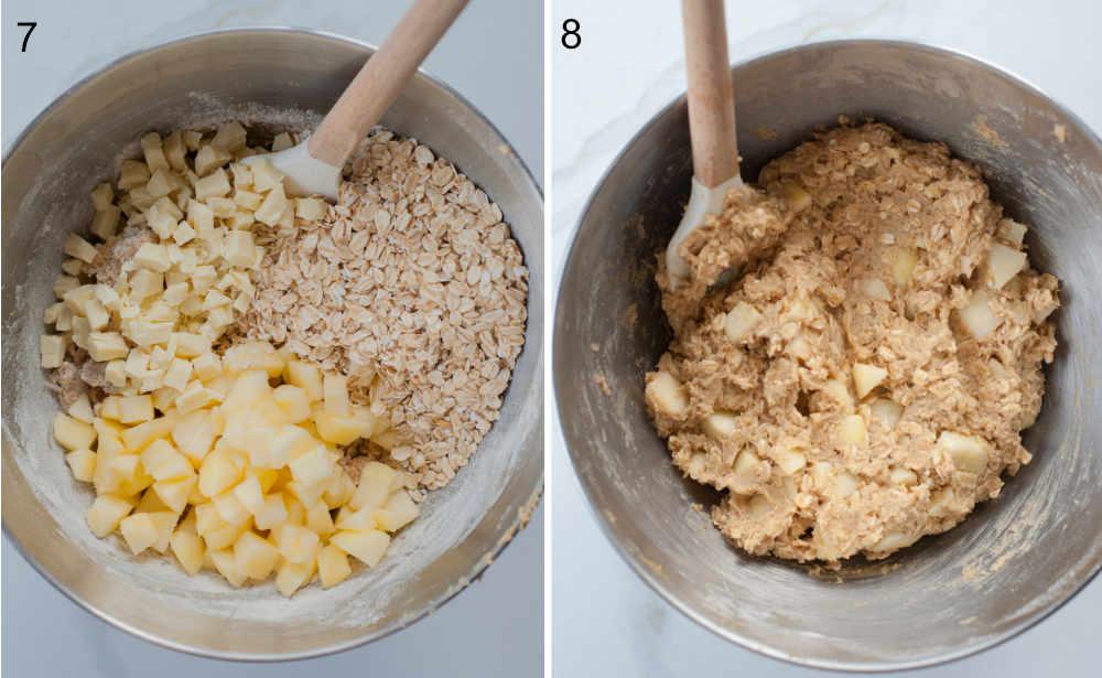 Jabłka, płatki owsiane i biała czekolada w misce. Ciasto na ciastka z jabłkami w misce.
