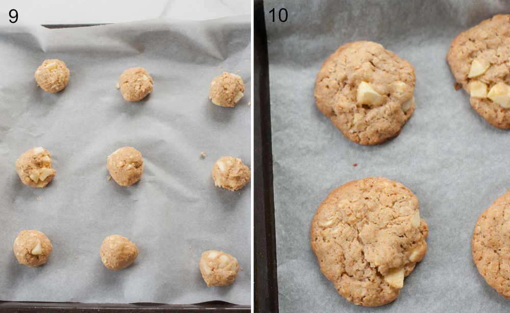 Ciastka z jabłkami i płatkami owsianymi przed i po upieczeniu na blaszce do pieczenia.