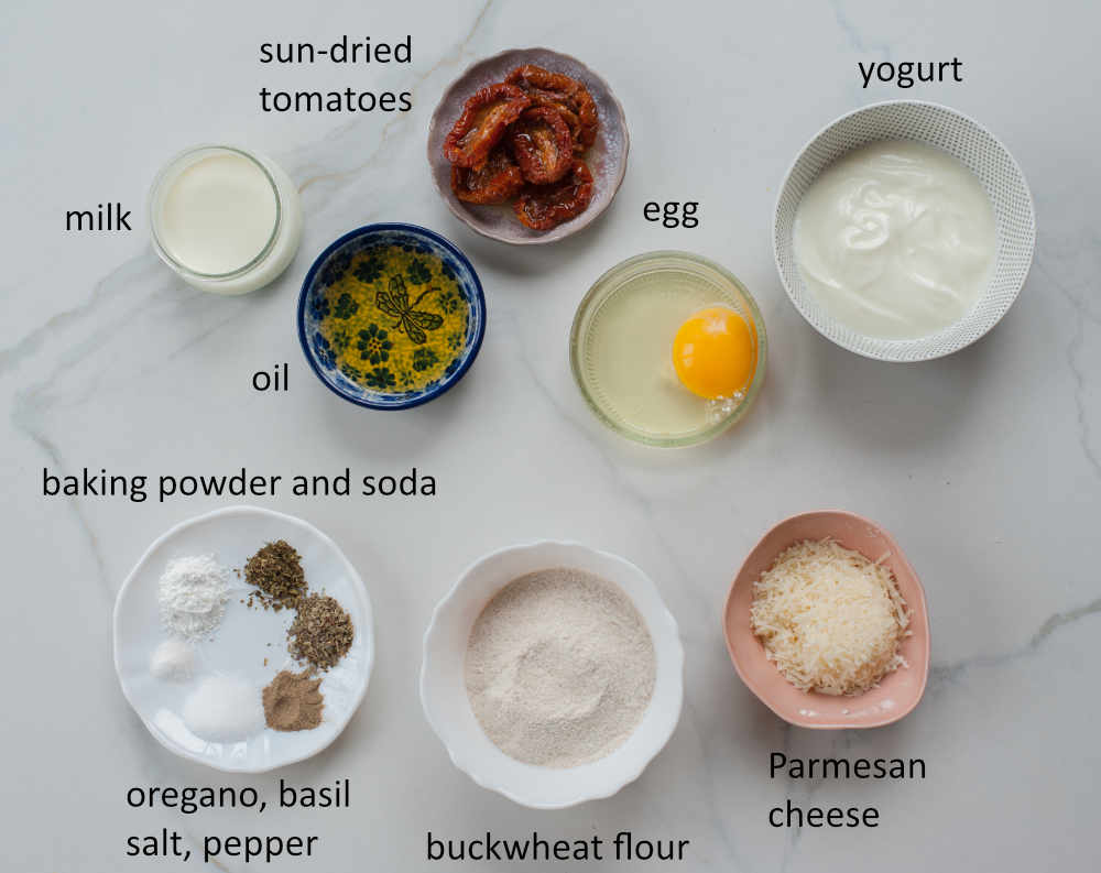 Labeled ingredients needed to prepare buckwheat pancakes.
