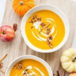 Butternit squash apple soup pinnable image.