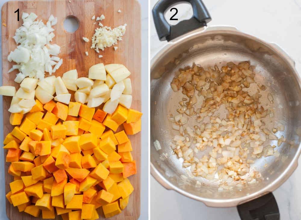 Pokrojone składniki na zupę dyniową na desce. Podsmażona cebula z czosnkiem i imbirem w garnku.