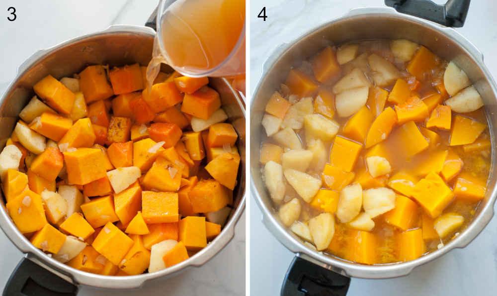 Pokrojona dynia i jabłka w garnku. Bulion dodawany do garnka z dynią.