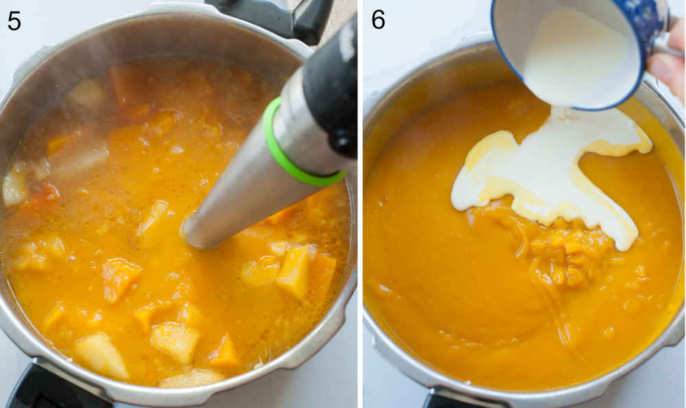 Butternut squash soup is being pureed with a blender. Cream is being added to the soup.