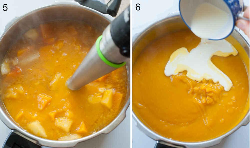 Zupa dyniowa miksowana blenderem. Śmietana dodawana do zupy dyniowej.