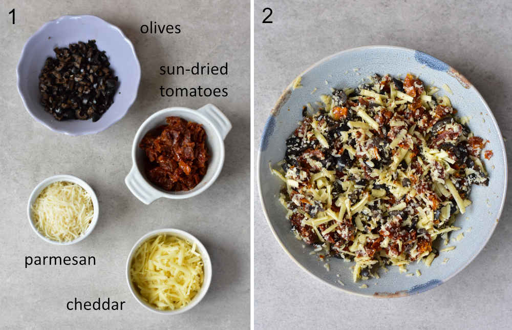 Labeled ingredients for puff pastry pinwheels. Filling in a blue bowl.