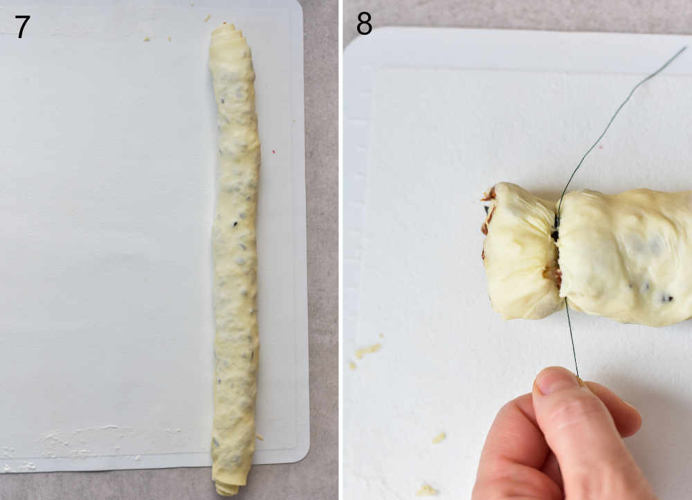 Puff pastry log. Puff pastry log is being cut into pieces with a thread.