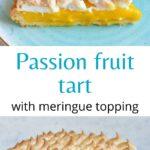 Passion fruit tart pinnable image.