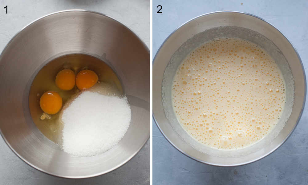 Eggs and sugar in a bowl. Beaten eggs with sugar in a bowl.