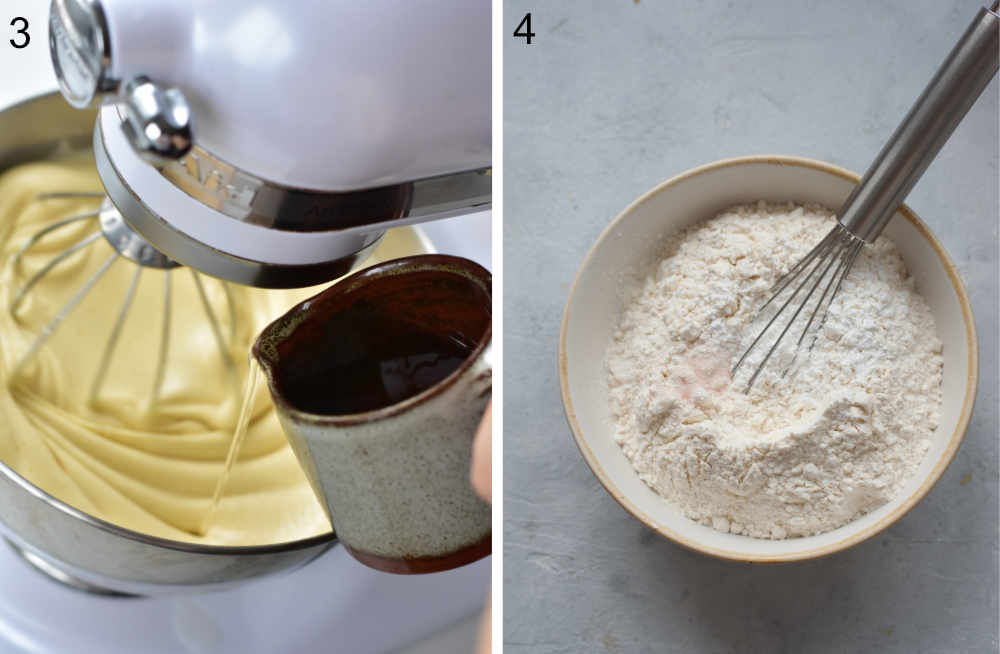 Oil is being added to a cake batter. Flour in a bowl.