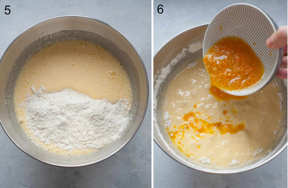 Flour added to a bowl with cake batter. Orange juice, zest, and jam are being added to a cake batter.