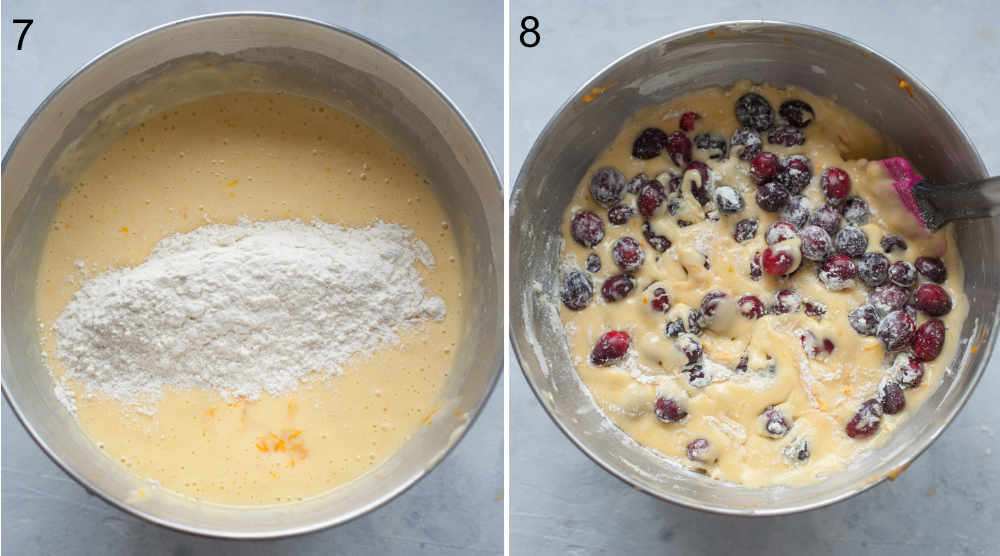 Flour added to a cake batter. Cranberries added to a cake batter.