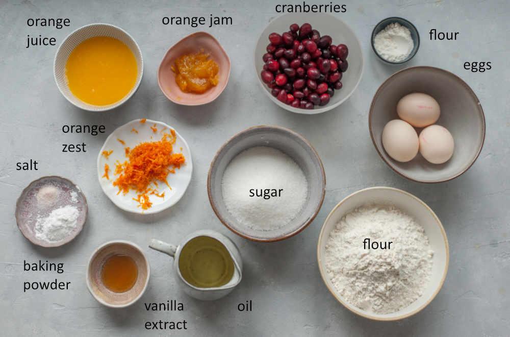 Labeled ingredients for cranberry orange bundt cake.