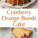 Cranberry orange bundt cake pinnable image.