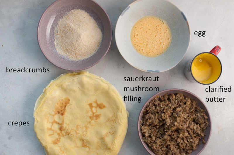 Labeled ingredients needed to prepare krokiety.