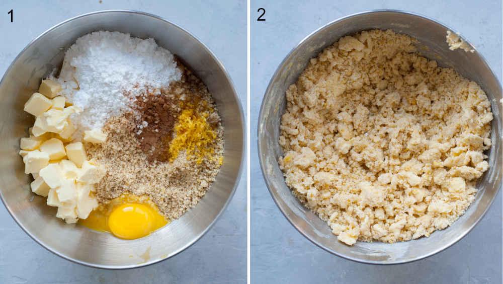 Składniki na ciastka Linzer w misce. Ciasto na ciastka Linzer w misce.
