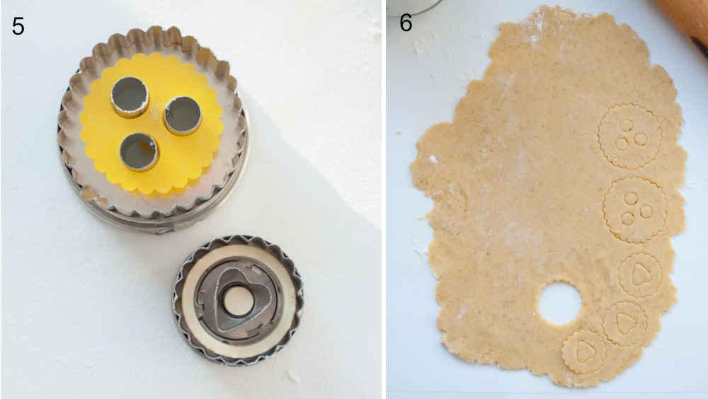 Foremki do ciastek Linzer. Rozwałkowane ciasto na ciastka.