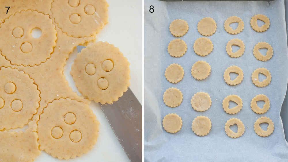 Przenoszenie ciastek za pomocą noża na blaszkę do pieczenia. Ciastka gotowe do pieczenia na blaszce do pieczenia.