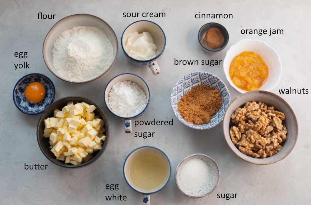 Labeled ingredients needed to prepare orange walnut rugelach.