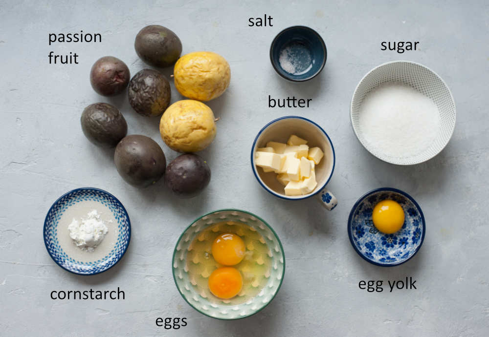 Labeled ingredients needed to prepare passion fruit curd.