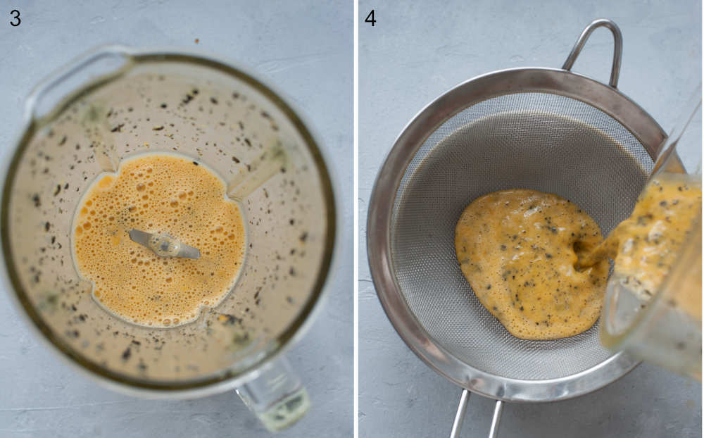 Mixed passion fruit pulp in a mixer container. Passion fruit pulp is being strainer through a sieve.