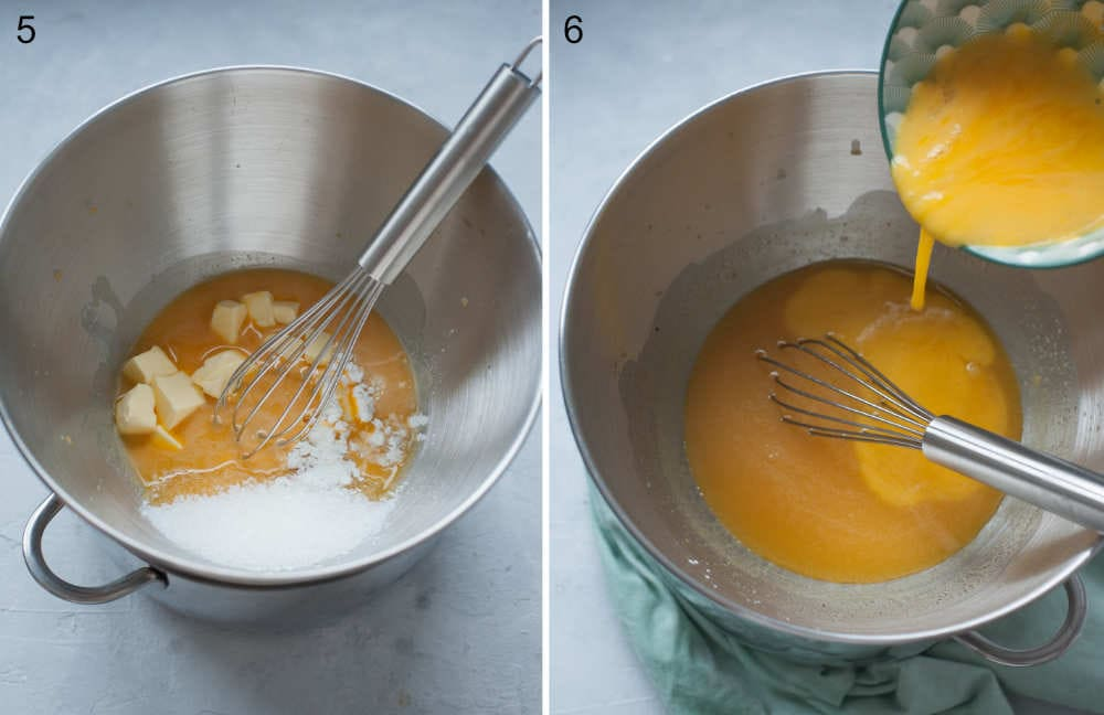 Eggs, egg yolk, butter and sugar in a bowl. Passion fruit juice is being added to a bowl.